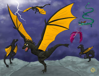 Thunder Dragons and others by Kairu-Hakubi
