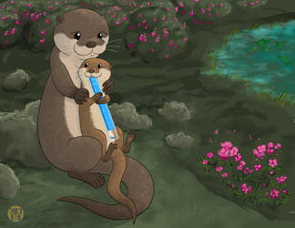 Otter Mom And Pop Landscape - Take 2 by Kairu-Hakubi