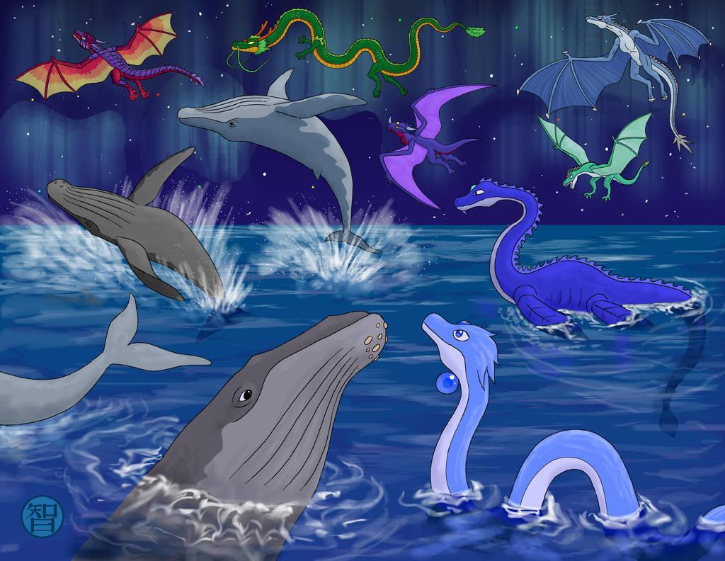 November Dragons and Whales by Kairu-Hakubi