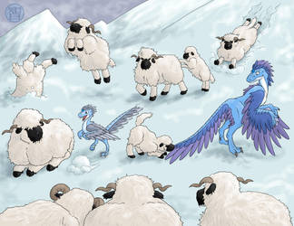 December Sheep featuring Bonus Dragons by Kairu-Hakubi
