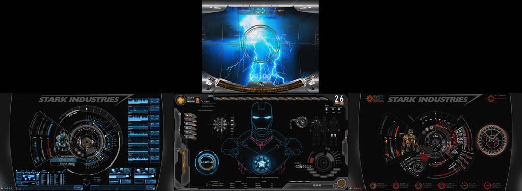 S.H.I.E.L.D + J.A.R.V.I.S + Avengers   4 Monitors by edreyes