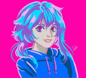 Portrait Cyan girl by Kyotox33JDI