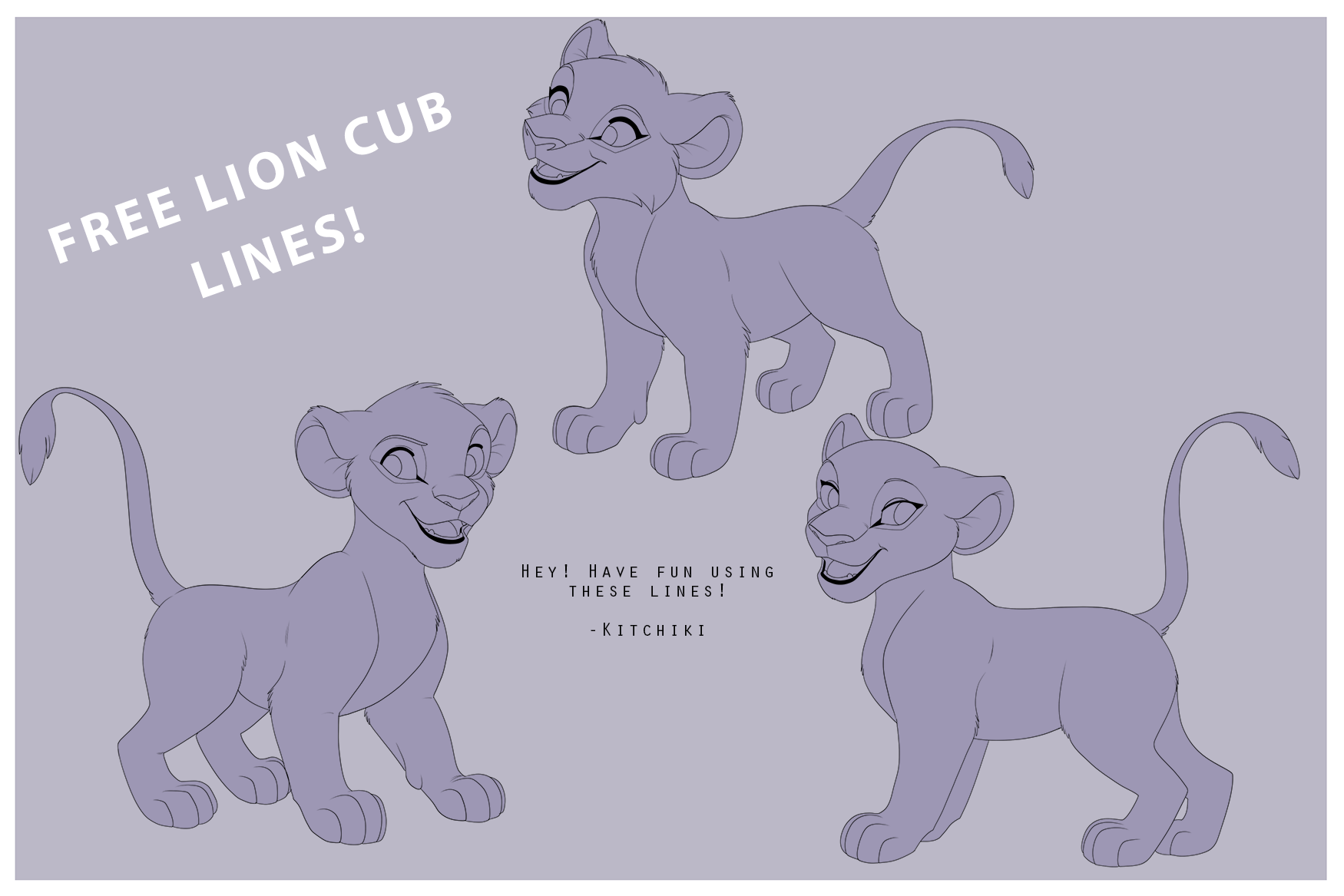 Lion King Cubs -FREE LINEART- by Kitchiki