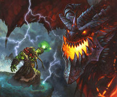 Thrall VS Deathwing by AlexHorley