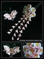 Sakura and Butterfly Pair by Kurokami-Kanzashi