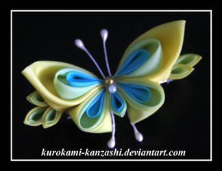 Yellow Butterfly Clip by Kurokami-Kanzashi