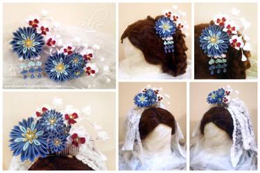 Blue Mums Bridal Kanzashi Set by Kurokami-Kanzashi