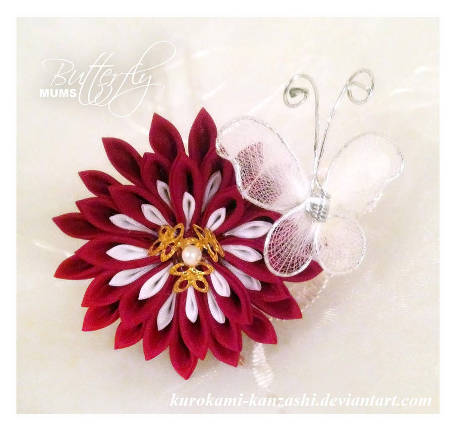 Butterfly Mums - Deep Red - FOR SALE by Kurokami-Kanzashi