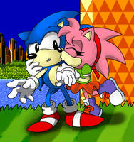 Sonic and Amy B-Day kisses by LeatherRuffian