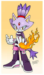 Blaze in Rouge's Sonic Heroes outfit by LeatherRuffian