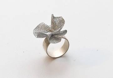 Silver ring with metalic fabri by yaelkaufman