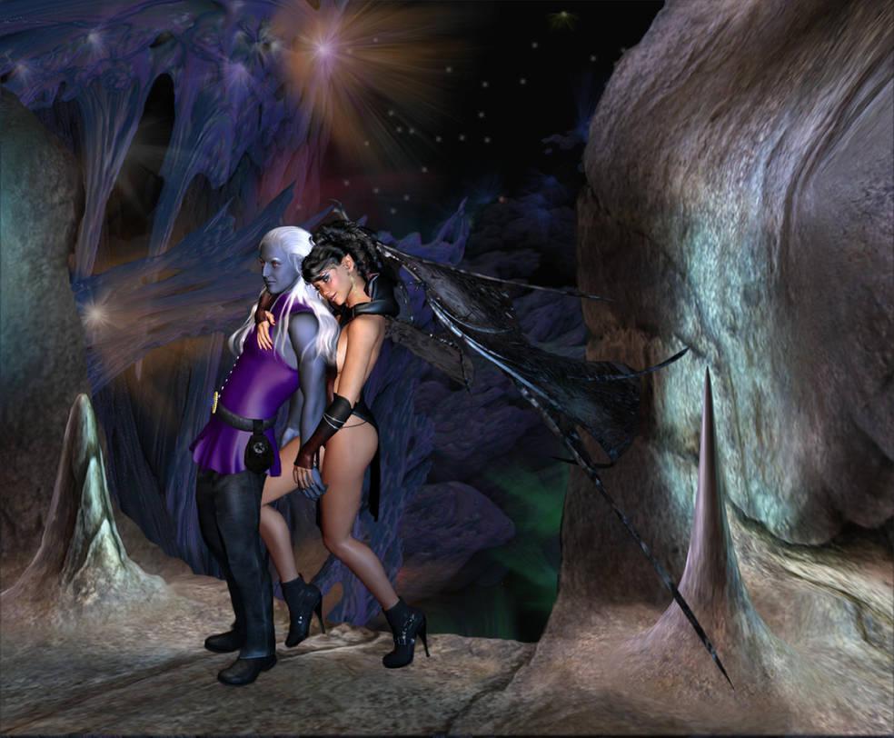 Pharaun and Aliisza Art Trade by kkyak1