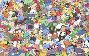 Pile of Pokemon by HappyCrumble