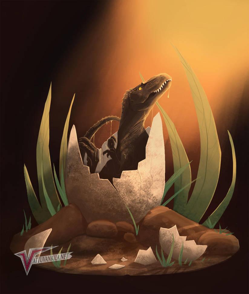Tyrannosaurus hatchling by Ernunoob