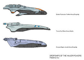 Heavy Dropships of the Major Powers by THEICYICY