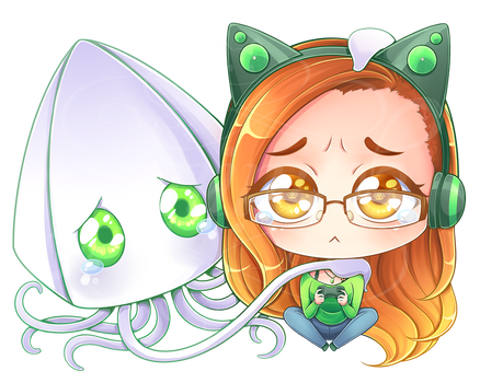 Commission - Kat and Squid [Speedpaint] by Geminine-nyan