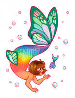 Mermay Day18 - Rainbow butterfly by Geminine-nyan