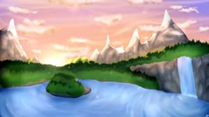Lake at dawn by BlizzySnowolf