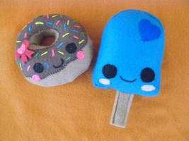 Popsicle and Donut Plushies by LochnessMonsters