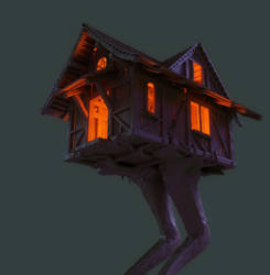 Baba Yaga's cottage on a chicken leg WIP by ikkiz