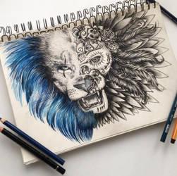 Dia de los muertos Lion by MariaXXArt