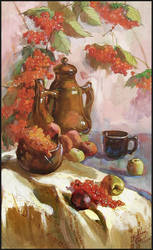 STILL-LIFE WITH ROWAN BERRIES by Badusev