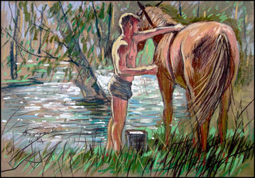 A YOUNG COSSACK BY THE RIVER SALGIR (SKETCH) by Badusev