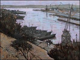 YUZHNAYA BAY OF SEVASTOPOL AT DUSK by Badusev