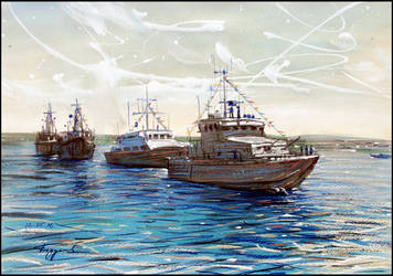 WARSHIPS LINED UP IN THE BAY by Badusev
