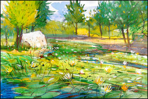 AN OLD POND IN THE COUNT'S PARK (PLEIN-AIR SKETCH) by Badusev