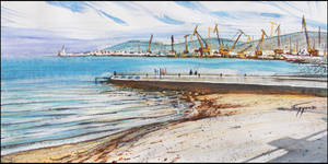 THEODOSIA. THE BEACH AND THE PORT by Badusev