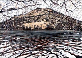 WILLOWS ABOVE LAKE AYAN (PLEIN-AIR SKETCH) by Badusev