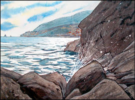 DARK ROCKS AND SHINING SEA (EN-PLEIN-AIR SKETCH) by Badusev