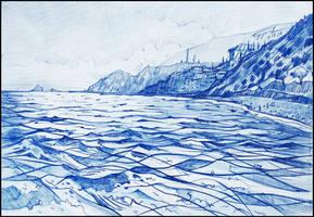 BY THE BLUEST SEA (PLEIN-AIR SKETCH) by Badusev