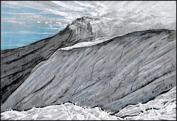 VEILED IN SNOWY CLOUDS (EN-PLEIN-AIR SKETCH) by Badusev