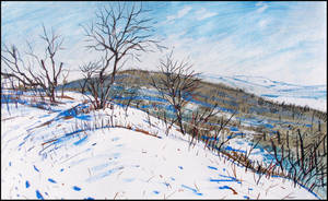 TREES IN SNOW ATOP BITAK KAYA (PLEIN-AIR SKETCH) by Badusev