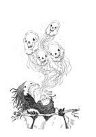 Skull puke (inktober) by TeemuJuhani