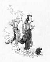 Goldstein sisters and Niffler (Fantastic Beasts) by TeemuJuhani