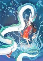 floating river Haku x Chihiro by mariposa-nocturna