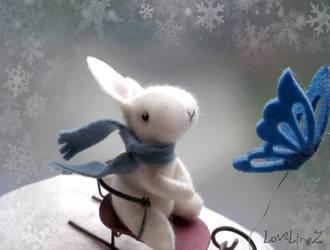 Bunny on sled by LoveLingz