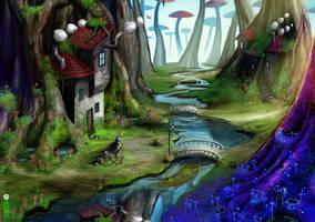 mushroom forest wallpaper by dinmoney