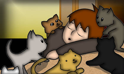 SomJoe with cats by somjoe