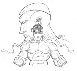 Ryu VS. Sagat Pencils by Demongrinder