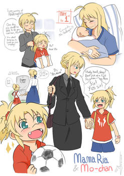 Single mom Arturia and little Mordred by crazytreasurestudio