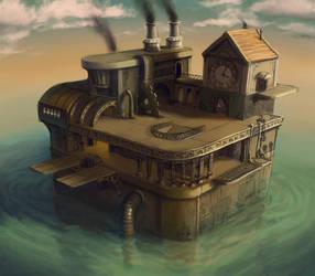 Steampunk Oil Rig by ZackF