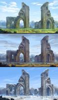 Glastonbury Abbey - 3 seasons by AncientKing