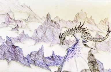 Frost Dragon and Mountains by ThEquinox2