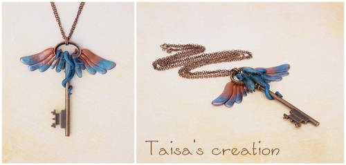 Neptunian Winged Key Pendant with Kyanite by Taisa-Winged
