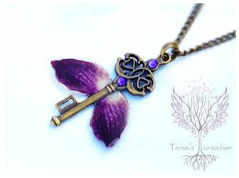 Flower Magic Winged Key Pendant by Taisa-Winged