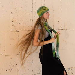 Crochet Hat and Scarf Set ''Green in my Life'' by Taisa-Winged